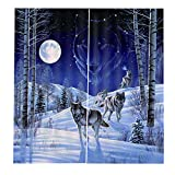 Fashionlook Mt0405 Animal Curtains Living Bedroom 3D Wolf Curtain Window Drapes 150166Cm Trendy Living Room Bedroom Blackout Window 3D Curtains