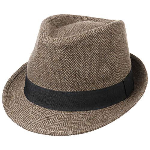Lipodo Trilby Cappello Herrinbone Donna/Uomo - Cappello in Tessuto con Fascia in Gros-Grain - Trilby Estate/Inverno - Fedora Marrone-Beige M (57-58 cm)