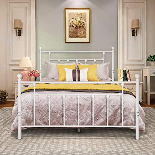VECELO Full Size Bed Frame, Metal Platform Mattress Foundation/Box Spring Replacement with Headboard Victorian Style, White