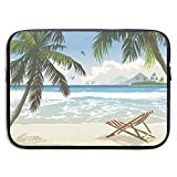 Sea Green Palm Hawaii Strand Beach Tropical Water Island Tree Hawaiian Paradise 13 Inch Laptop Sleeve Neoprene Notebook Computer Pocket Tablet Briefcase Carrying Bag Pouch Skin Cover Computer Bag for