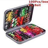 Crafteam Mosca Pesca Moscas Kit, 20/100 Piezas Hand-Tied Mosca Pesca señuelos con Impermeable Fly Box para Bass Salmón Trucha, 20pcs in 4 Colors