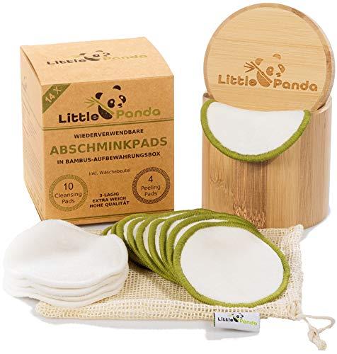 Little Panda Abschminkpads waschbar aus Bambus & Bio-Baumwolle | 14 wiederverwendbare Wattepads Bambus-Pads | nachhaltige Baumwollpads Make Up Pads inkl. hochwertige Bamboo Aufbewahrungsbox & Beutel