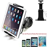 """AccessoryBasics Universal Smartphone Tablet iPad iPhone Indoor Spin Cycle Treadmill Exercise Bike Handle Bar Mount Holder for iPhone 11 XS XR X 8 Plus ipad Mini Air Pro Galaxy S10 5-12"""" Screen Device"""