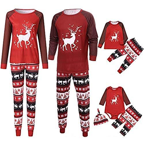 Snakell Weihnachten Schlafanzug Nikolaus Pyjama Familien Pyjamas Set Weihnachten Nachtwäsche Outfits Herren Damen Kinder Baby Rentier Tops Hirsch Druck T-Shirt + Hosen+Hut Dreiteiliger Anzug