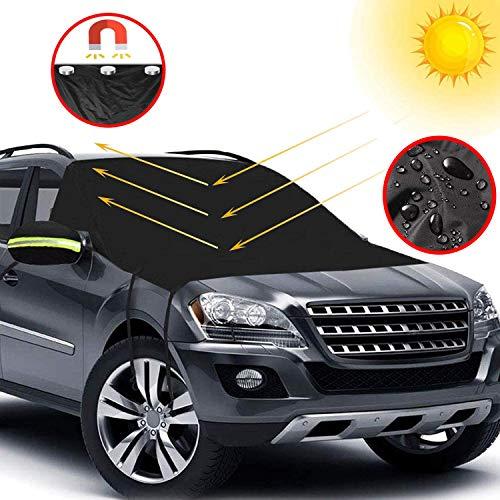Big Hippo Auto Sonnenschutz für Frontscheiben, Sonnenschutz Auto für Windschutzscheibe, Sonnenblende Auto Frontscheibe für UV Schutz, Flexible Größe für Auto, SUV, LKW, Schwarz