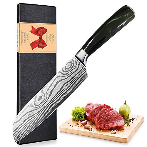 Home Safety Santokumesser 17cm - Kochmesser - Japanisch Sushi Messer Küchenmesser deutschem Messerstahl mit ergonomischem Griff mit Geschenkbox für Haus, Restaurant