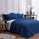 SunStyle Home Quilt Set King Size Dark Blue 3 Piece, Ultra Soft Lightweight Luxurious Microfiber Coverlet Modern Style Rectangle Pattern Bedspread Set (Includes 1 Quilt, 2 Pillow Shams)