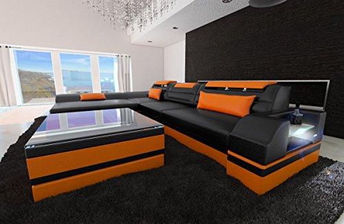 Sofa Dreams lederen bank Monza L-SHAPED zwart-oranje
