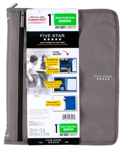 Five Star 1 Inch 3 Ring Binder, Customizable, Removable Fixture, Gray (72987)