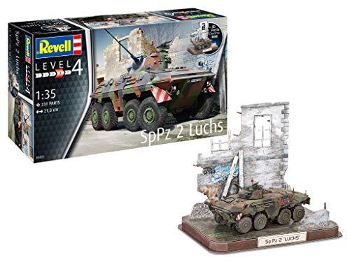 Revell 03321 SpPz2 Luchs & 3D Puzzle Diorama, Modell des Bundeswehr Spähpanzers zum Selberbauen 1:35, 21,8 cm originalgetreuer Modellbausatz für Fortgeschrittene, zum Bemalen