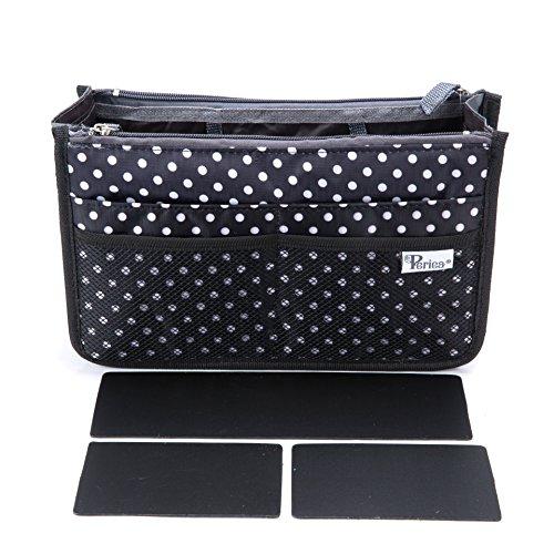Periea 'Chelsy Premium' Handtaschenorganizer mit Kunststoffeinsätzen – für Handtaschen aller Größen – 13 Taschen (Schwarz mit Weißen Tupfen, Mittel)