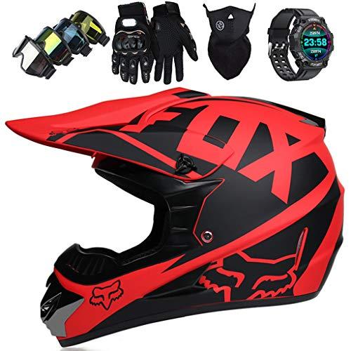 KIVEM Casco MTB de Integrales, JMY-01 Set de Casco de Moto de Motocross para Niños y Jóvenes con Gafas/Reloj Inteligente Deportivo - Casco de Moto de Cross Adultos, con Diseño Fox, Negro Mate,XL