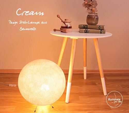 Ø 30 cm, fabriquée à la main en coton avec lED globe boule ampoule lampe à lED, intérieur crème