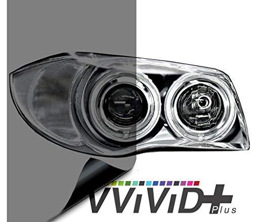 VViViD Air-Tint Smoke Black Gloss Vinyl Headlight Foglight Transparent Tint Wrap Self-Adhesive (12 Inch x 48 Inch, 2-roll Pack)