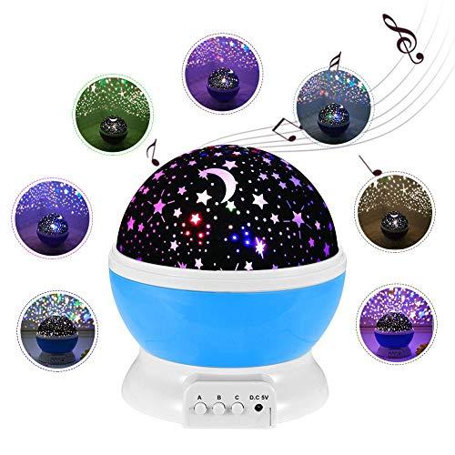 Maliyaw Lámpara De Luz Nocturna, Estrellas Proyector Romántico Luz Nocturna LED Giro De 360 Grados 4 LED Lámparas De Luz con Cable USB para Bodas, Cumpleaños, Fiestas, Niños