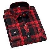HDDFG Hombres Primavera Otoño 45% Algodón Camisa a cuadros en blanco y negro Camisas delgadas de manga larga transpirables saludables ocasionales (Color : B, Size : 2XL code)