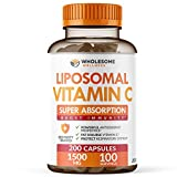 Liposomal Vitamin C Capsules (200 Pills 1500mg Buffered) High Absorption VIT C, Immune System & Collagen Booster, High Dose Fat Soluble Immunity Support Ascorbic Acid Supplement, Natural Vegan