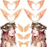 7 Pairs Elven Vampire Fairy Ears Latex Elf Ears Cosplay Pixie Ears Soft Pointed Goblin Ear Dress Up Fit for Most Ears, Clip on The Ear Directly for Halloween and Christmas Cosplay