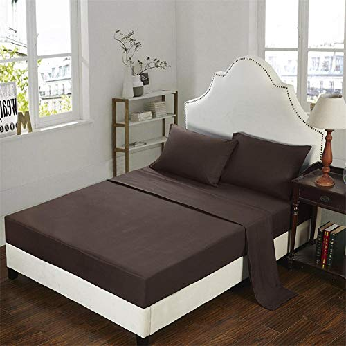 GTWOZNB Bed Sheets, Ultra Soft Silky Smooth and Wrinkle-Resistant Pure color sanding bed sheet-6-coffee_198*203cm