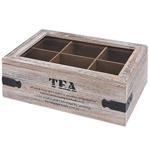 Theekist houten theedoos 6 vakken glazen deksel thee kist theedoos theedoos theedoos