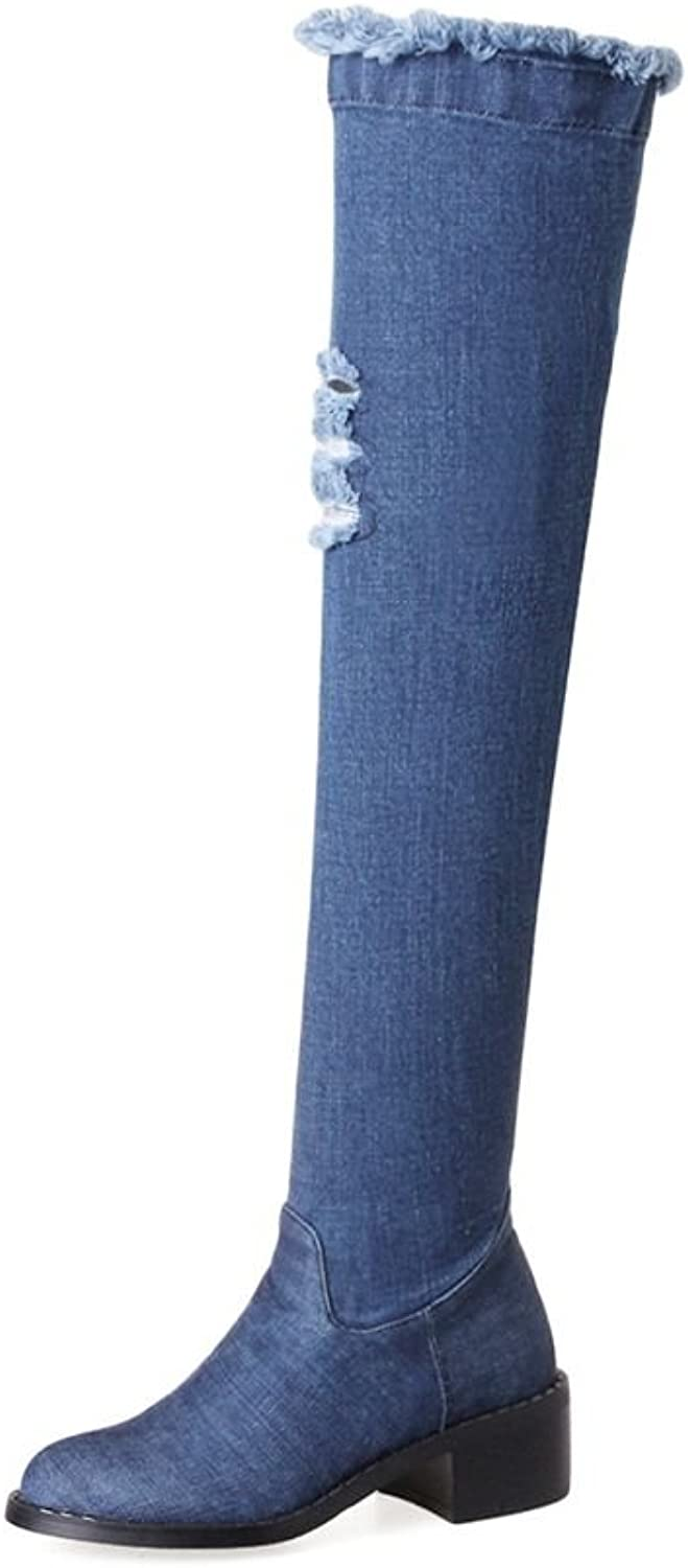 SaraIris Over-The-Knee Denim Boots Torn Holes Round-Toe for Women