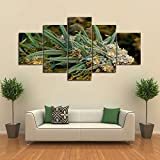 YTTBH 5 Paneles Buds Weed Canvas Set, impresión decoración del hogar Cannabis Lover Wall Print Bud Art Picture Regalo para Fumar Hierba para Sala de Estar, Enmarcado 20X35 20X45 20X55cm