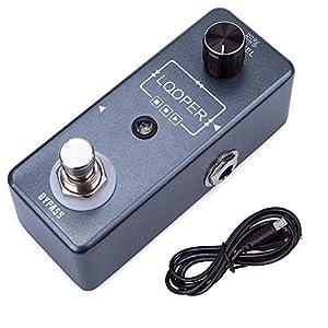 Gitarreneffekte Overdubs 10 Minuten Aufnahme Mini Loop E-Gitarre Effektpedal Looper True Bypass Mit USB-Kabel Heavy-Duty-Fußschalter Distortion & Overdrive (Farbe : Black, Size : Free Size)