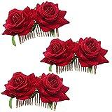 Clyhon 3 Piezas Clips de Pelo de Flor Horquillas con Rosas Accesorios de Mujeres para Boda Fiesta Bailaora de Flamenco, Pinzas de Pelo Tocado (Rojo)