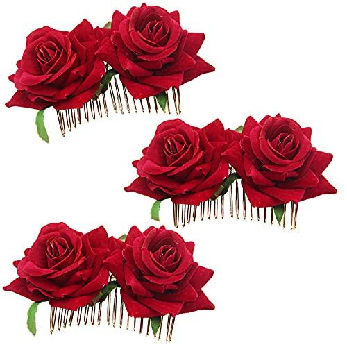 Clyhon 3 Piezas Clips de Pelo de Flor Horquillas con Rosas Accesorios...
