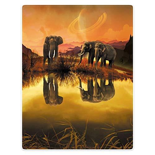 YISUMEI Kuscheldecke Gelbe Elefante Reflexion Decke Flauschige Weich Fleecedecke für Sofa Bett 150x200cm