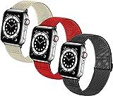 MPWPQ Bandas de Relojes elásticas Trenzadas Suaves de Nylon Solo Loop Compatible con for el Reloj de Apple Sport Ajustable Sport Transpirable Strap de la muñeca for iWatch Series 7/6/5/4/3/2 / 1 / SE