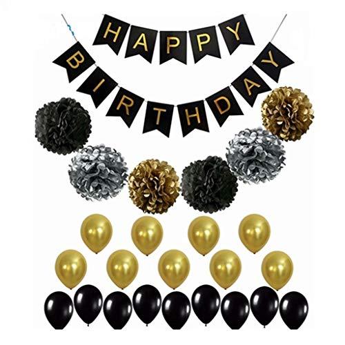 ZDNB Feliz cumpleaños Telón de Fondo Banner Decoraciones Bunting Globos Dorados Fiesta Colgante Globos de látex de Oro Rosa, Negro, Juego de Feliz cumpleaños