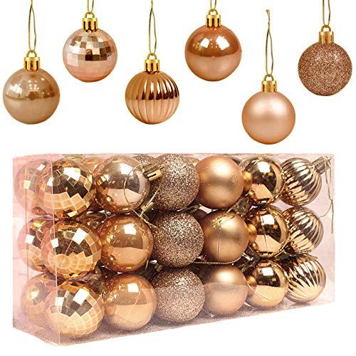 Popglory 36PCS/40mm Bolas de Navidad, Adornos Árbol Navidad, Decoración Árbol de Navidad, Navidad Decoración Casa, Decoracion Hogar para Fiesta y Festival