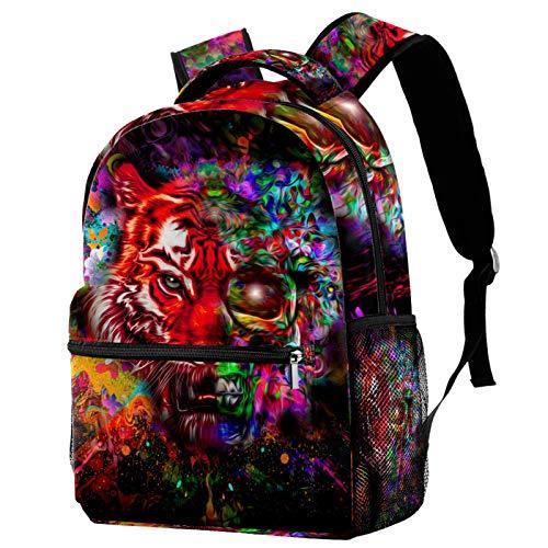 Zainetto luminoso astratto con testa di tigre colorata con mezza cranio zaino scuola borsa Bookbag escursionismo viaggio