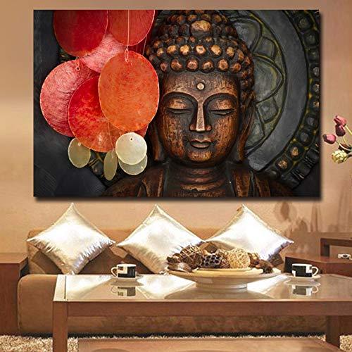 ganlanshu Lebendige Bronze Buddha Statue Wandbild Leinwand Kunst Wandplakat und Bild für Wohnzimmer Tempel Büro Dekoration rahmenlose Malerei 20cmX30cm