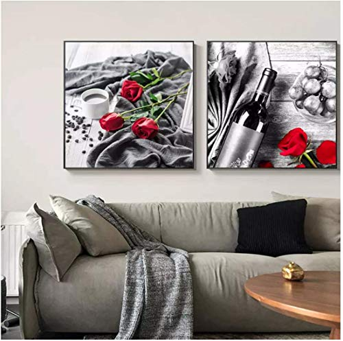 Refosian Copa de vino tinto Imagen de rosa Arte de la pared Pintura en lienzo Impresión de arte minimalista y póster para restaurante Sala de estar -20X20 pulgadas Sin marco 2 piezas
