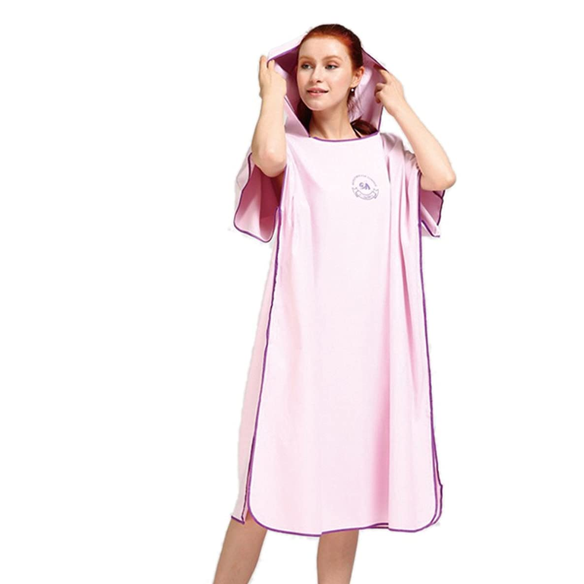 Homeself Changing Robe Towel, Portable Quick-Drying Surf Beach Hooded Poncho Robe, Compact & Light Weight, One Size Fits All (Pink) izkercrspjsqmicw