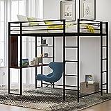 Metal Loft Bed with Desk and 2 Shelves, Twin/Full Loft Bed Frame for Kids (Full, Black)