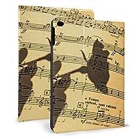 SORA 音楽デザイン iPad Air 2 ケース iPad Air ケース 手帳型 オートスリープ機能付き iPad Air/iPad Air 2 保護カバー ペンホルダー付き 強化ガラス液晶保護フィルム付き