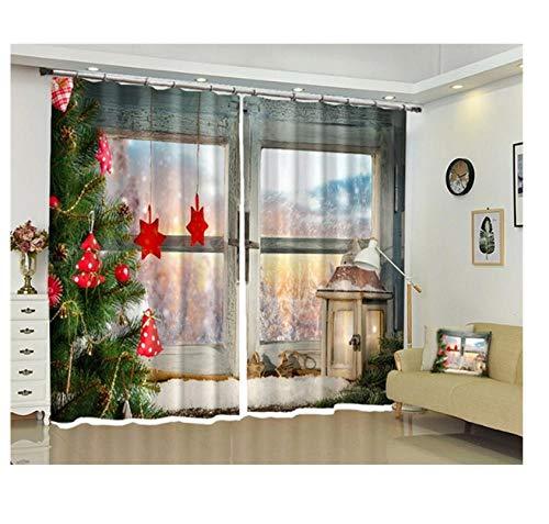 HomeAZWQ Árbol De Navidad Decoracion De Estrellas Rojas.Cortina Opaca Dormitorio Infantil Bebe Niño Niña H245 X...