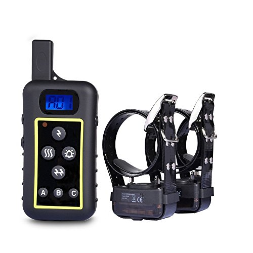 JANPET Outside Night Use Large Dog Hunting Training Collars Remote Control 2000m High Light LED Receiver 100% Waterproof E-Collar Dog Trainers 3 Dogs with Static Shock, Beep, Vibration, Tone Function