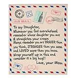 Coperta di mia figlia dalla mamma, coperta di posta aerea in pile bifacciale stampata con lettere e messaggi, miglior regalo per il compleanno, Natale, ringraziamento, laurea