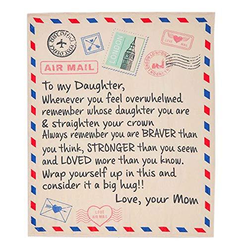 Bodosac Luftpostdecke an Meine Tochter Brief Blanket 3D Weiche Cozy Leichte Durable Plüsch Decke Für Schlafzimmer Wohnzimmer, Geschenk,to My Daughter from mom (180 X 220)