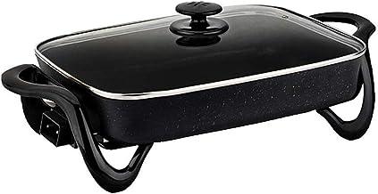 DYXYH Antiadhésif Deep Dish Heavy Duty avec couvercle Poêle électrique en verre trempé et Ventilé facile for Spout, lave-v...