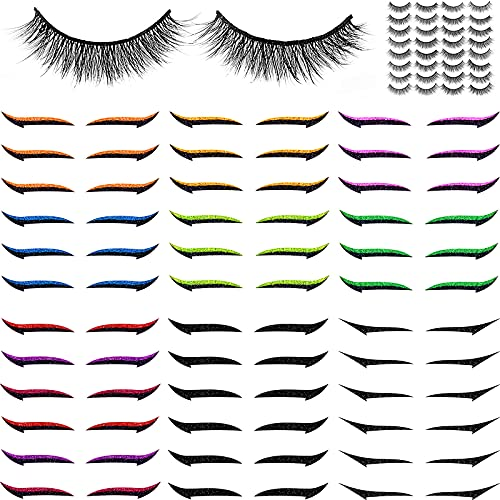 36 Pairs Reusable Eyeliner Stickers Self-Adhesive Eye Line Strip Sticker Double Eyelid Tape Winged Eyeliner Sticker Eyeliner Makeup Sticker with 16 Pairs False Eyelashes for Women