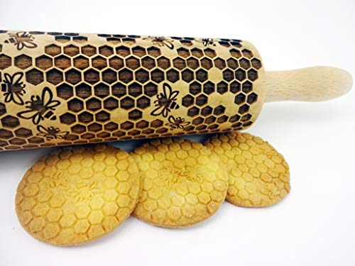 HONEYCOMB EMBOSSING ROLLING PIN LASER ENGRAVED ROLLING PIN WITH BEES PATTERN FOR HOMEMADE COOKIES