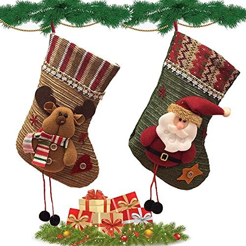 2 Piezas Calcetines Decoración Navideñ, Calcetines Colgantes para Decoración de Navidad, Calcetines Navidad Chimenea, Calcetín de Navidad, para Decoración de Navidad (Papá Noel y Muñeco de Nieve)