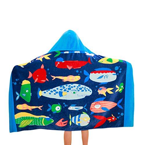 Muium(TM) Toalla con capucha para niños, toalla de playa, albornoz, toalla de baño para niñas y jóvenes, de algodón, toalla deportiva para bebé, poncho de baño b Talla única