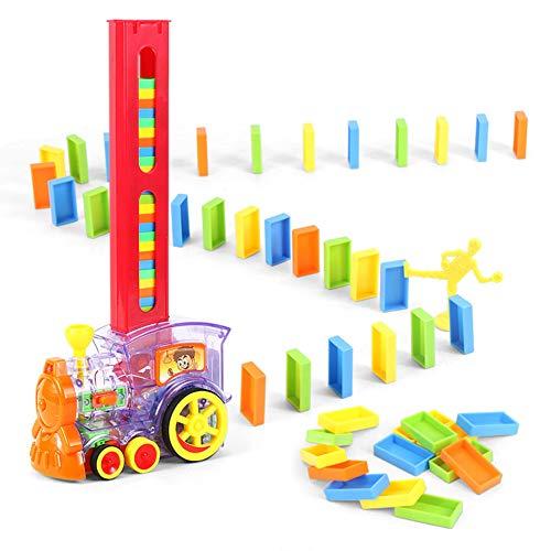Latocos 80 Pezzi Treno del Domino, Set di Blocchi di Domino, Modello di Treno Elettrico con Suono Leggero, Set di Blocchi di Giocattoli Impilabili, Set di Domino Rally Train Toy per Bambini