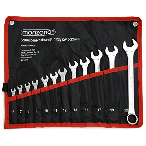 Monzana set chiavi combinate inglesi acciaio cromo vanadio borsa arrotolabile 12 pz 6-22mm chiave a forchetta anello